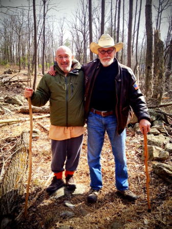 Dhanurdhara Swami and Graham on his farm.